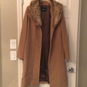 Arden B coat with fur trim
